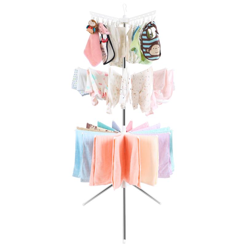 伟经晾衣架 婴儿晾衣架不锈钢折叠晒架晒宝宝晒衣尿布毛巾汗巾落地塑料架子效果图